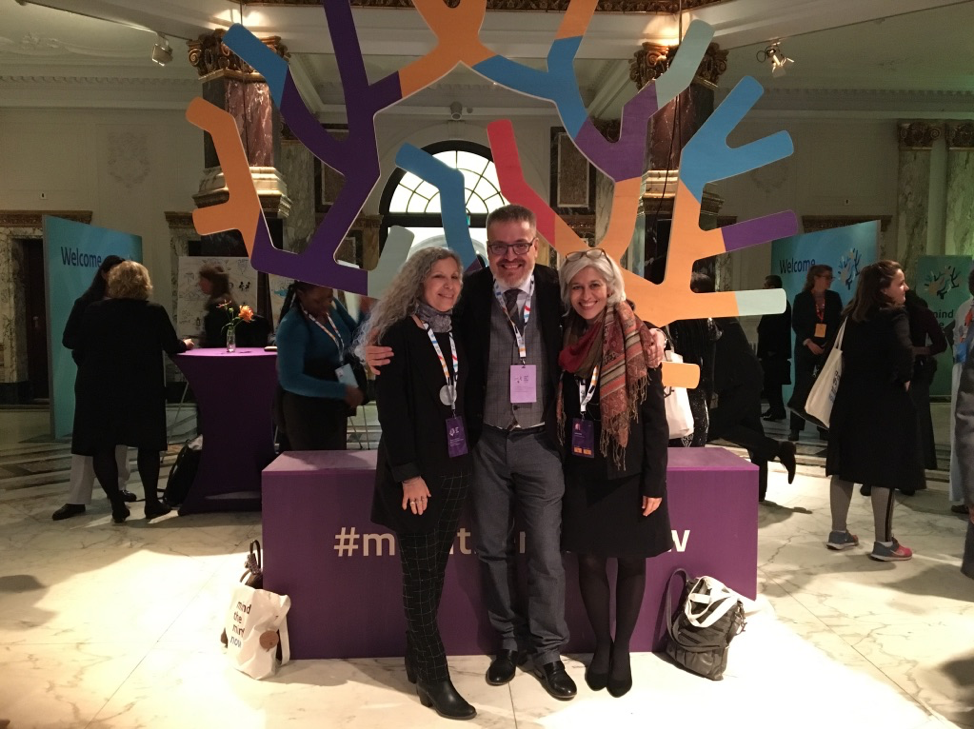 Leslie (right) with Nancy Baron of PSTIC (left) and Guglielmo Schinina of IOM (middle) at the 2019 Ministerial Mental Health Summit in Amsterdam